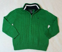 Nautica Boys Sweater Size 5 6 Green Cable Knit Half Zip Pullover Casual ... - $19.79