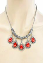 Siam Rot Acryl Strass Vintage Inspiriert Charmed Halskette, Modeschmuck - $13.02