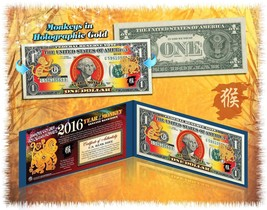 Lot of 25 Chinese New YEAR MONKEY 2016 Lucky Money Gold Hologram $1 BILL... - $214.12