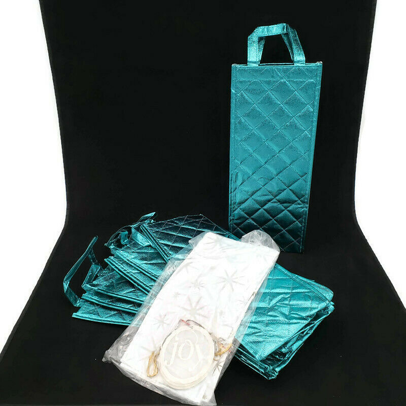 Primary image for Joy Mangano Metallic Wine Gift Bag Tote with Tissue and Tags Set of 6 AQUA