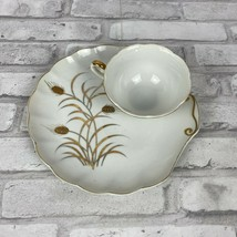 Lefton China Snack Plate and Cup Handpainted Gold Guild Wheat Set of 2 - $10.50