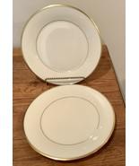 "Lenox Eternal Set of 2 Bread & Butter Plates 6 3/8"" Ivory Gold Trim Made... - $28.04"