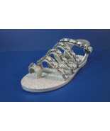 Chanel Light Grey 36.5 Metallic Leather Silver Woven Chain Sandals Flats... - $865.53