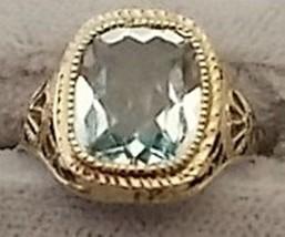 Exquisite 10k Gold Art Deco/Filigree Ring with 2.22ct Genuine Aquamarine (#274) - $555.75