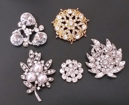 5pc /Lot Clear White Rhinestone brooch pin Silver Plated & Gold Comb 34 - $13.99