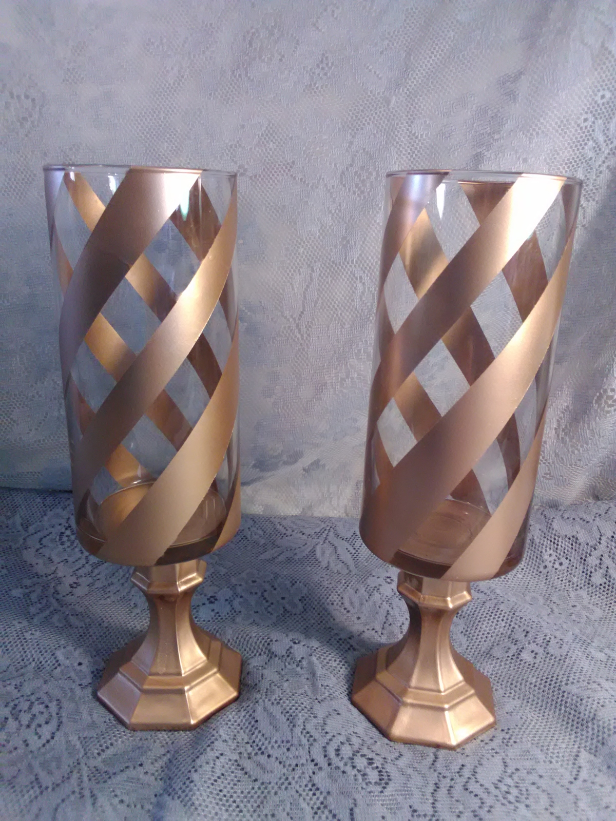 Primary image for 2pc. Gold Cheveron Candleholder Set
