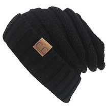 Winter Hats Women Cap Crochet Knit Thermal Slouchy Beanie Hat / Black - $14.45
