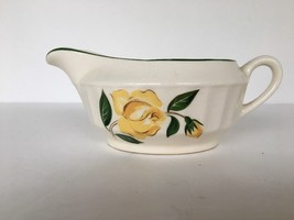 Gravy Boat Creamer Floral Design Yellow Rose Vintage Off White Dinnerware - $6.92