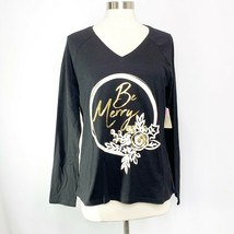St John's Bay Womens Size S Small Black Gold Be Merry Christmas Holiday T-Shirt - $11.54
