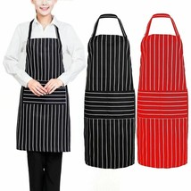 Stripe Kitchen Aprons For Women Men Useful Cooking Apron Grid Adjustable... - $9.99