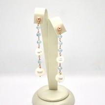 Drop Earrings Silver 925 Laminated Rose Gold Mesh Bracelet Band Pearl & image 2