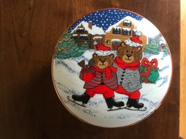 Mikasa Skating Teddy Winter  Porcelain Christmas Covered Candy Dish w/ Lid - $11.88