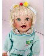 "Yolanda Bello McBaby Girl Porcelain Doll Blonde Hair Posable Green Eyes 13"" - $44.54"