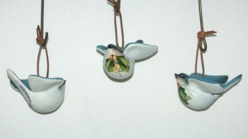 Unbranded 37300 Paint Bird Christmas Ornament Leather Hanger Blue Set of 3