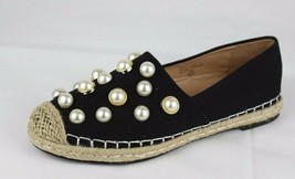 Chase Chloe women's loafers flats black with pearl textile upper size 7 - £14.82 GBP