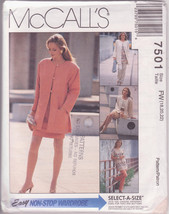 McCall's 7501, Sizes FW 18 to 22, Unlined Jacket, Tunic Top, Pull-on Pants - $12.00