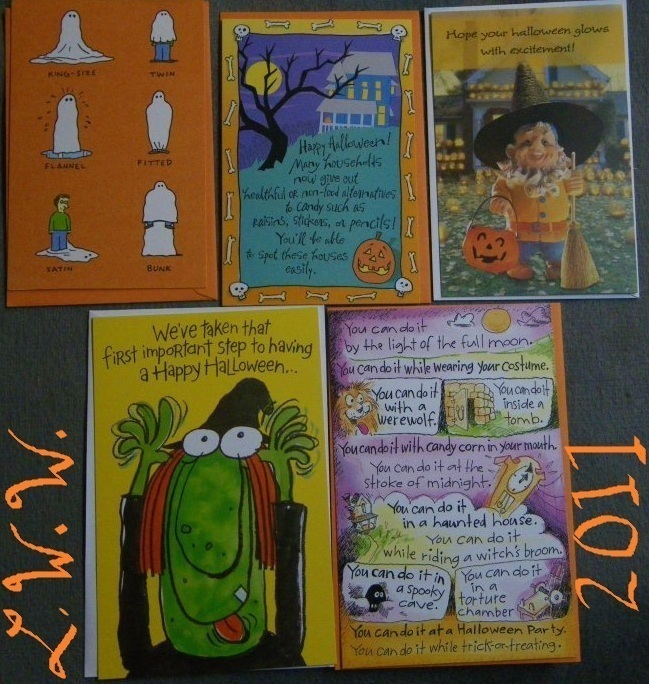 5 Halloween Greeting Cards with Envelopes Ghost Witch Gnome