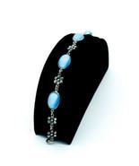 Antique Mission Arts Crafts Sterling Silver Blue Moonstone Glass Flower ... - $134.99