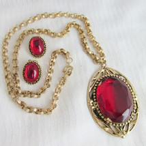 Vintage Blood Red Griopoix Glass Lg Ornate Pendant Earrings Rolo Chain N... - $53.99