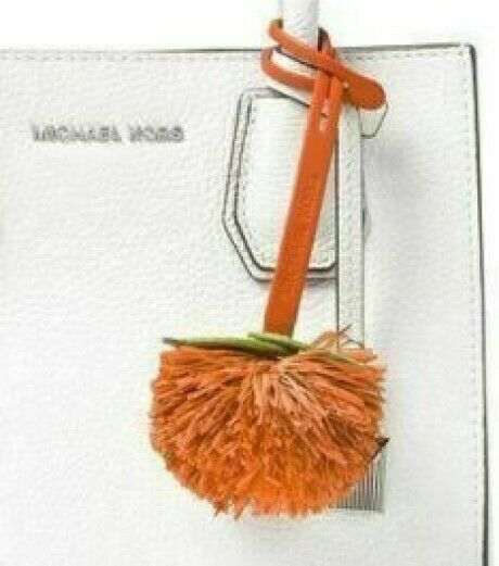 MICHAEL KORS  NWT Novelty Tangerine Pom Pom Purse-Charm  Orange Leather image 3