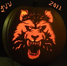 Hand-carved Snarling Werewolf Foam Jack-o-lantern Pumpkin  - $39.99
