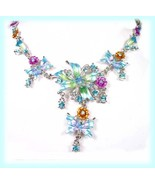 Aqua Blue Flower & Butterfly Necklace Earring Set w/Crystals - $19.99