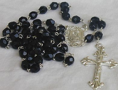 Black beads rosary from the Holy Land