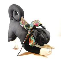 Vtg Stuffed Animal  BLACK CAT Canvas Broadcloth Fabric Hand Made Painted... - $12.50
