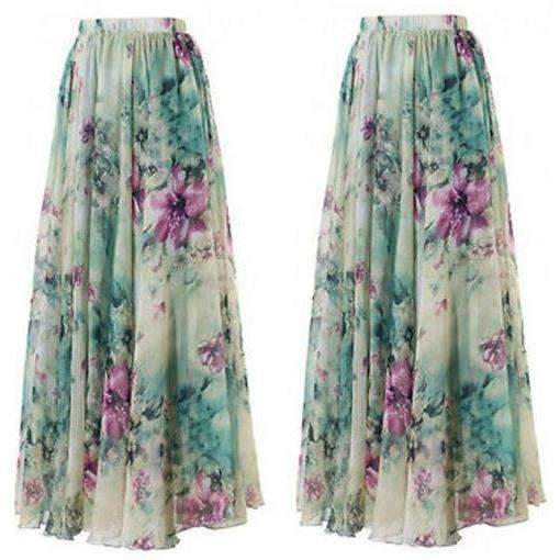 Chiffon Pleated Floral Print Women Long Skirts