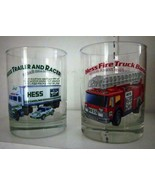 2 Glasses - Hess 1996 Classic Truck Series: Fire Truck Bank & Trailer an... - $10.00