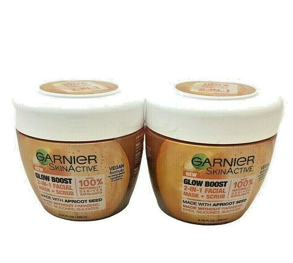 Garnier SkinActive (2) Glow Boost 2in1 Facial Mask Scrub Apricot Seed Feels Good - $12.82