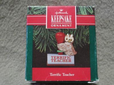 Hallmark Teacher Keepsake Ornament Owl 1991 MIB