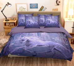 3D Purple Unicorn 326 Bed Pillowcases Quilt Duvet Single Queen King US Summer - $102.84+