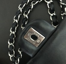 100% Authentic Chanel BLACK QUILTED LAMBSKIN MEDIUM CLASSIC DOUBLE FLAP BAG SHW image 3
