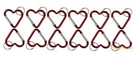 Red Carabiner Key Chain Heart Shaped Key Ring Belt Clip Snap Aluminum (1... - $8.89