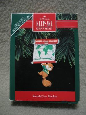 Hallmark Teacher Keepsake Ornament Chipmunk 1992 MIB