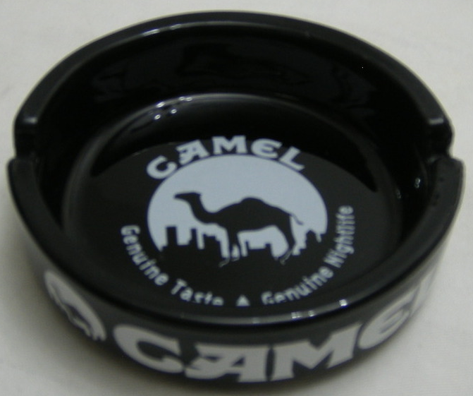 "CAMEL Vintage Black Ceramic Ashtray, 4-1/4"" x 1"""