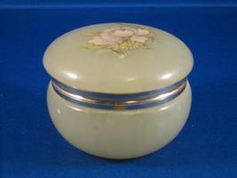 Genuine Alabaster Trinket Jewelry Box Pink Flower Italy - $7.00