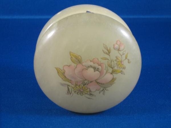 Genuine Alabaster Trinket Jewelry Box Pink Flower Italy