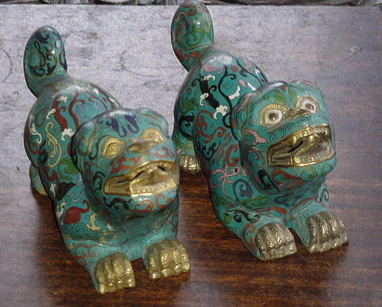 Pair of 18th-19th Century Cloisonne Chinese Lions