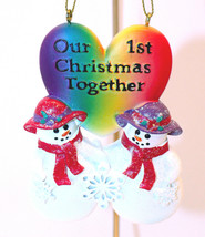 Women's Gay Pride-Christmas Ornament-Our 1st Christmas Together-Snowwomen - $10.93