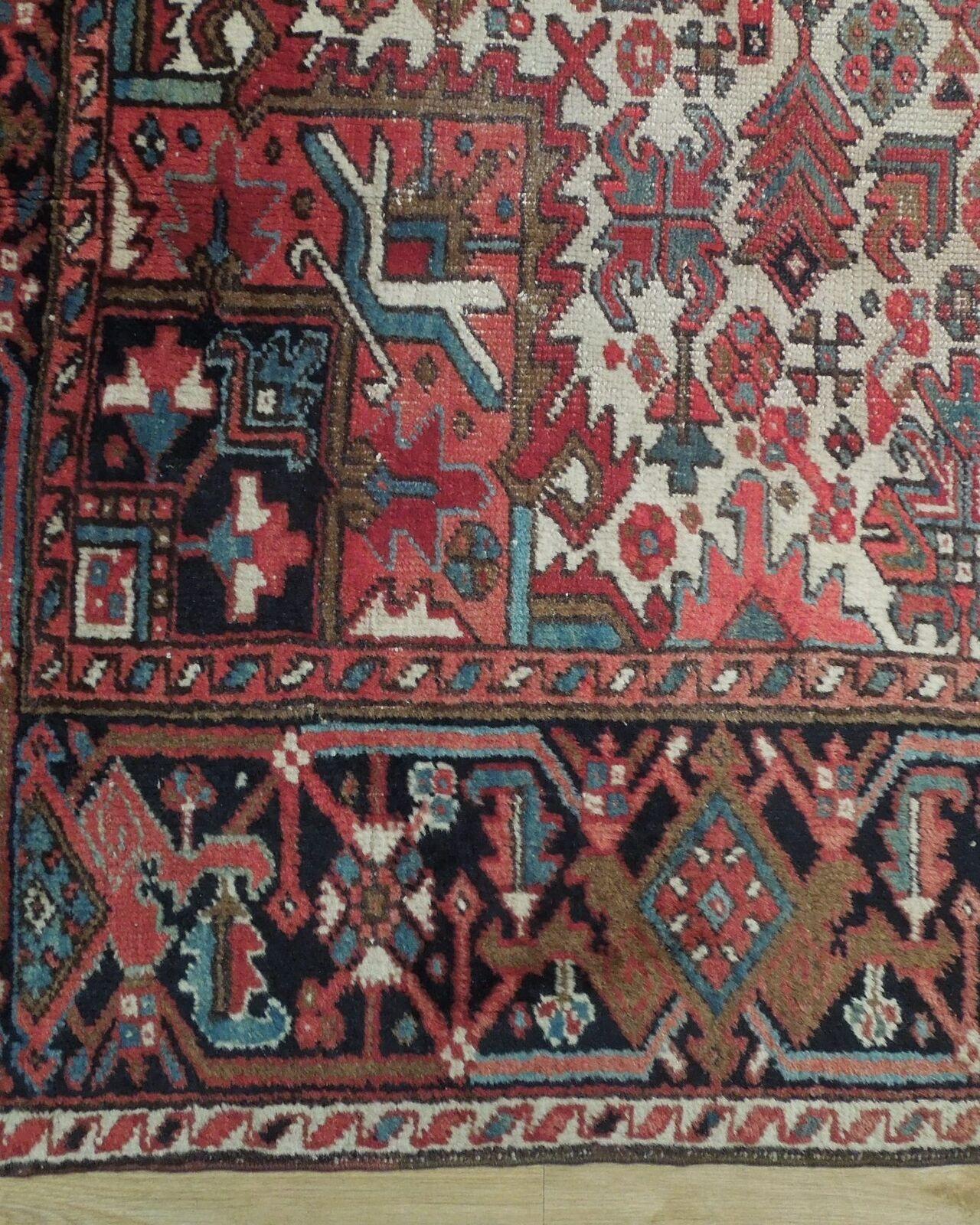 Normal Wear Semi-Antique Persian Handmade 9x12 Burgundy Heriz Wool Rug image 3