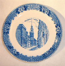 OLD NORTH CHURCH BOSTON BLUE+WHITE ENGRAVED DIS... - $6.95