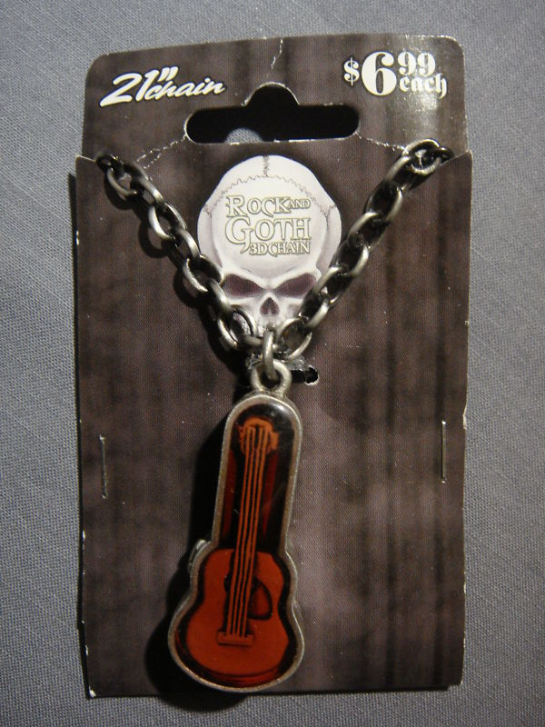 ACOUSTIC GUITAR IN CASE ROCK THEME 3D CHAIN NECKLACE