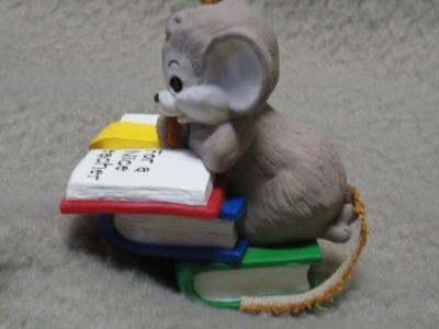 Hallmark Teacher Keepsake Ornament Mouse 1989 MIB