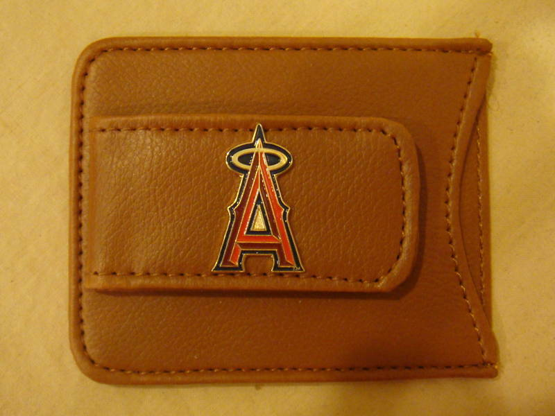 ANAHEIM ANGELS MONEY CLIP CARD HOLDER BROWN LEATHER NEW