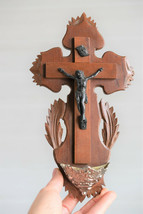 ⭐ antique French crucifix ,holy water font,19 th century ⭐ - $48.51