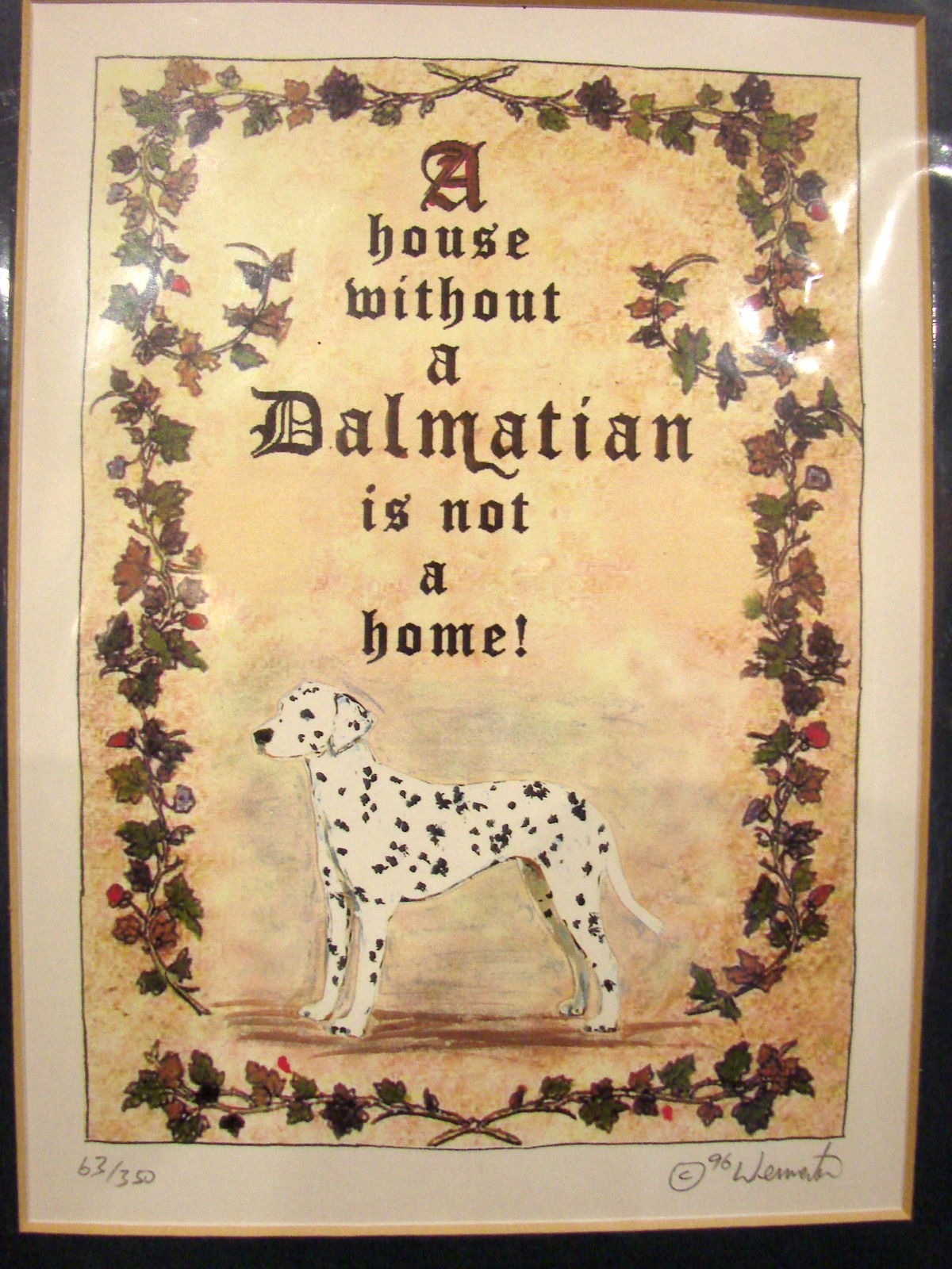 "Primary image for  ""House is Not Home without a Dalmatian, Signed Print, Ltd Ed Matted 8 x 10 Inch"