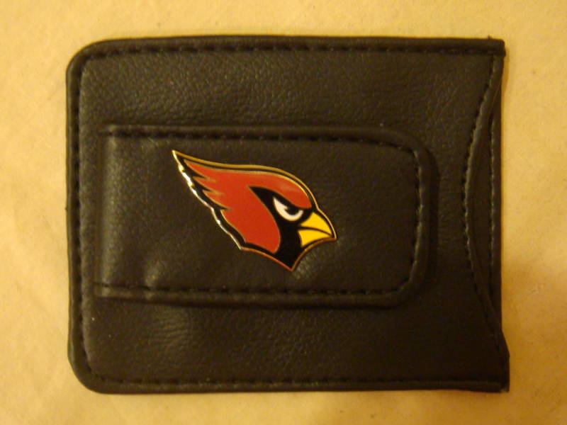 ARIZONA CARDINALS MONEY CLIP CARD HOLDER BLACK LEATHER