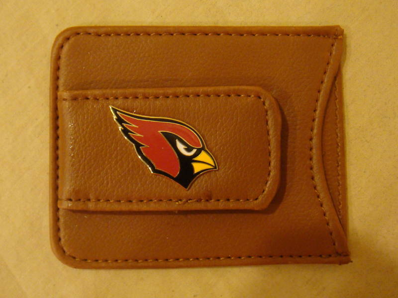 ARIZONA CARDINALS MONEY CLIP CARD HOLDER BROWN LEATHER